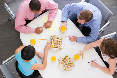 Meeting with sandwiches and juice